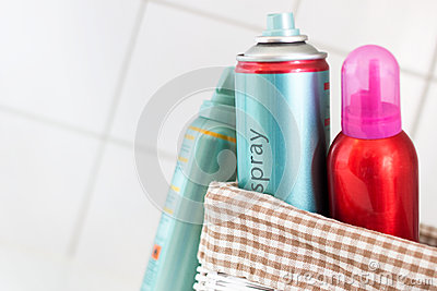 Hairspray in a basket