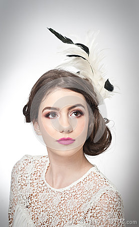 Free Hairstyle And Make Up - Beautiful Young Girl Art Portrait. Genuine Natural Brunette With Creative Haircut, Studio Shot. Attractive Royalty Free Stock Image - 50710946