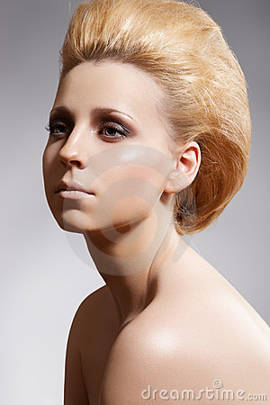 Hairstyle, bouffant hair, styling. Luxury make-up