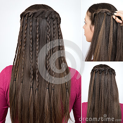 Free Hairstyle Braided Cascade Tutorial Stock Photos - 90209173