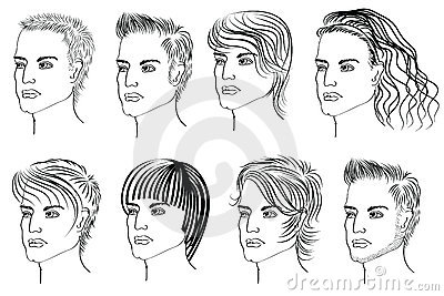 Hairstyle elements for salon with face.