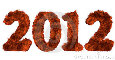 Hairy lettering 2012 in red orange