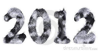 Hairy lettering 2012 in stained black and white