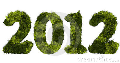 Hairy lettering 2012 in stained green