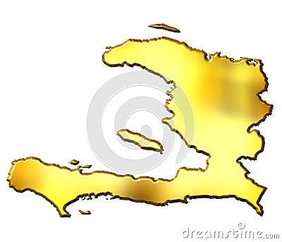 Haiti 3d Golden Map