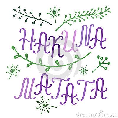 Hakuna Matata Lettering With Floral Elements Stock Vector Image 65776624