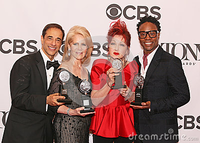 Hal Luftig, Daryl Roth, Cyndi Lauper, and Billy Porter Editorial Photography