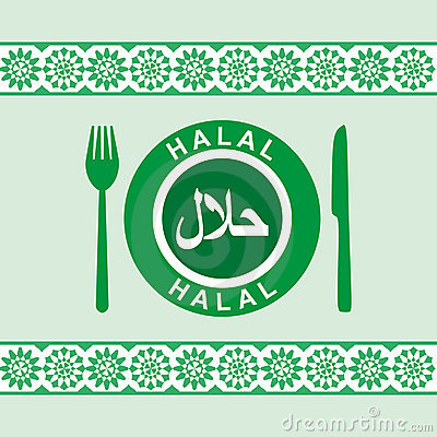Halal - plate, knife and fork