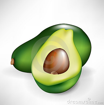 Half of avocado and fruit