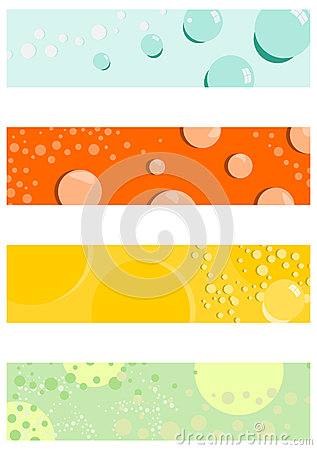 Half banners background set with bubbles.