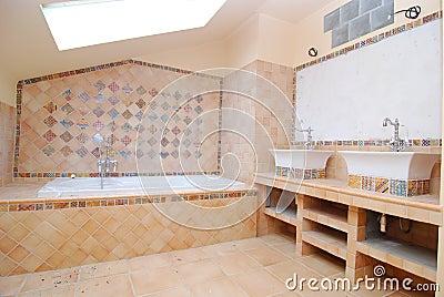 Half-built bathroom