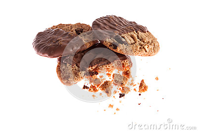 Half chocolate cookies with crumbs