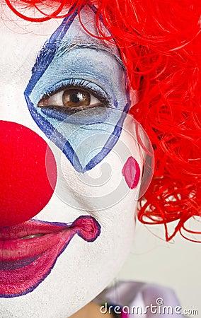 Half Female Face Colorful Circus Clown Portrait