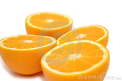Half-cut oranges isolated on w