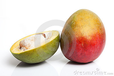 Half cut and whole mango