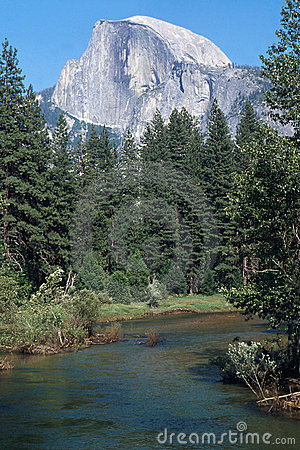 Half Dome Over The Merced River Royalty Free Stock Image - Image: 152396