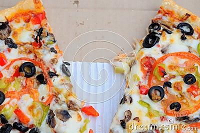 Half eaten pizza