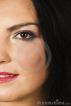 Half face of beauty woman make up