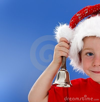 Half face of bell ringing little boy on blue
