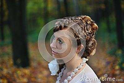 Half-face portrait of a bride