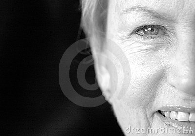 Half face senior woman