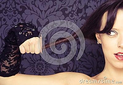 Half face woman portrait