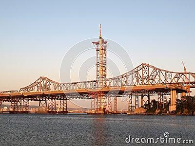 Half finished new Bay Bridge tower at dusk