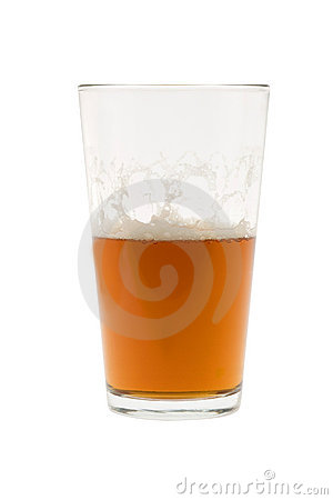 Half glass of beer, ale or lager
