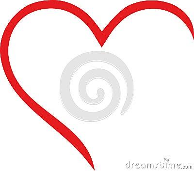 Half heart outline Vector Illustration