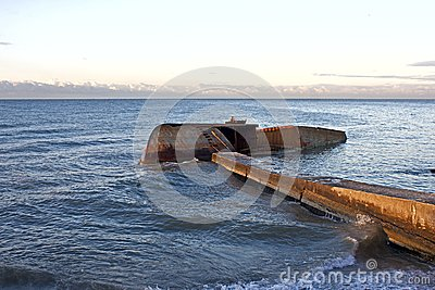 Half-immersed ship