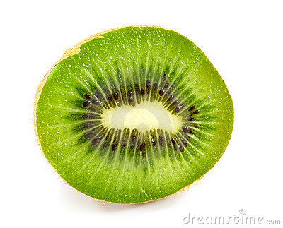 Half of kiwi isolated on white
