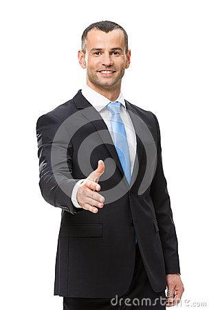 Half-length portrait of businessman handshake gesturing