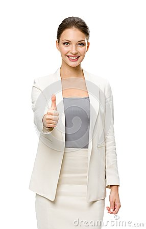 Half-length portrait of businesswoman thumbing up