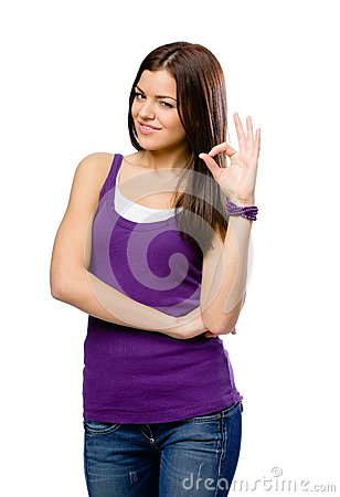 Half-length portrait of girl with okay gesture