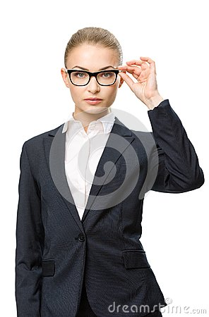 Free Half-length Portrait Of Female Business Man In Glasses Stock Photography - 34057572