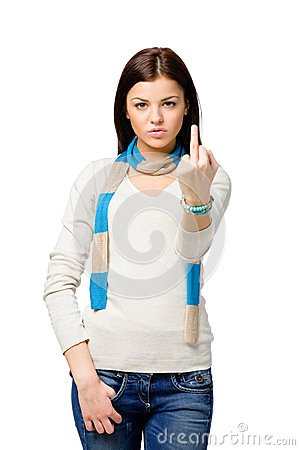 Half-length portrait of teenager with obscene gesture