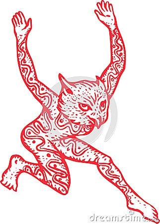 Half Man Half Owl With Tattoos Dancing
