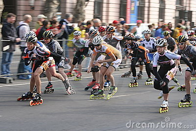Half marathon roller skaters Editorial Stock Photo