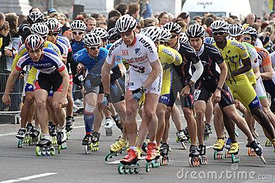 Half marathon roller skaters Editorial Stock Image