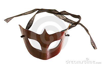 Half-mask made of brown leather