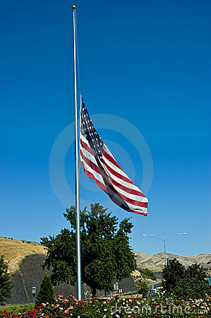 Half-mast American flag