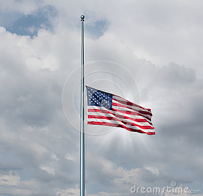 Free Half Mast American Flag Royalty Free Stock Photography - 32853227