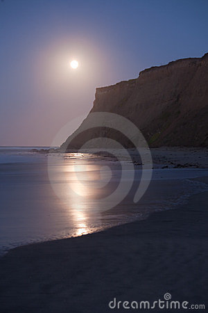 Half Moon Bay at Moonset