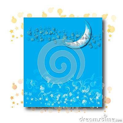 Half moon on blue