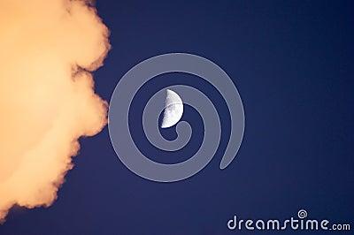 Half moon with cloud