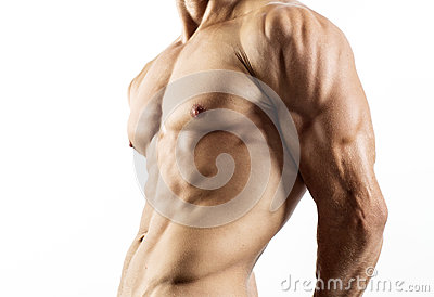Half naked sexy body of muscular athletic sportsman
