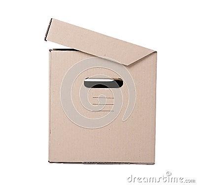 Half-open cardboard box