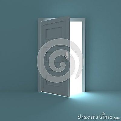 Free Half Opened Door To White Light Stock Photos - 23837663