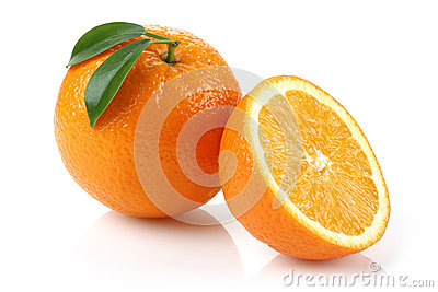Half Orange and Orange Stock Photo