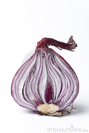 Half red onion on white background